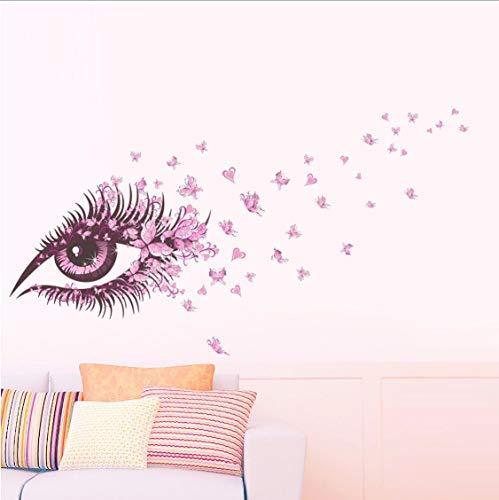 Adesivi murali farfalla occhi rosa 65X135 cm