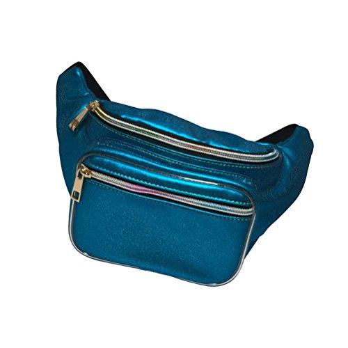 LUOEM Pack de Taille imperméable à l'eau Brillant Sac holographique Fanny pour la randonnée en Cours d'exécution de Voyage (Bleu)