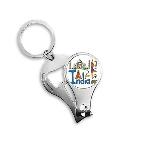 India Nationaal symbool Landmark Patroon Sleutelhanger Ring Teen Nagel Clipper Snijder Schaar Gereedschap Kit Flesopener Gift