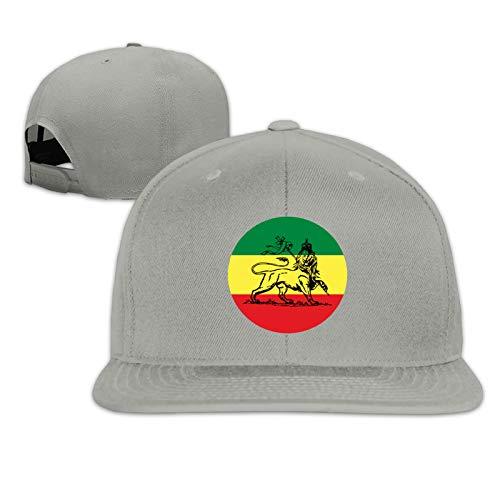 Rasta Lion Judah Ethiopian Flag Unisex Herrenmütze Sportkappe Hip-Hop-Kappe Verstellbare Flache Herren-Baseballmütze Sonnenmütze für Erwachsene