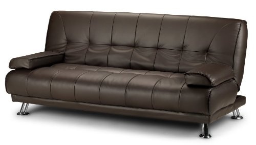 Stunning 3 Seat Designer Sofa Bed Faux Leather Chrome New Black Cream Brown (Brown)