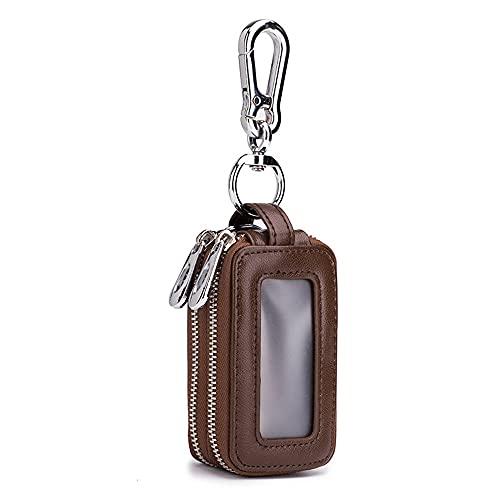 Llavero monedero llavero de cuero de moda para llave de coche multifunción cremallera doble capa hombres y mujeres bolsa de bolsillo para llaves colgante cintura