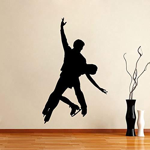 Tianpengyuanshuai Eiskunstlauf Doppel Kunst Wand Applique Sport abnehmbare Home Indoor Gym Vinyl Aufkleber Kinder Wohnzimmer 45X66cm