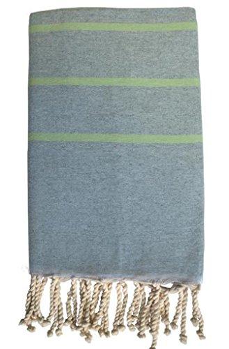 HR Decoraction Zoe Serviette de Plage, Coton, Vert, 200 x 100 x 0.5 cm