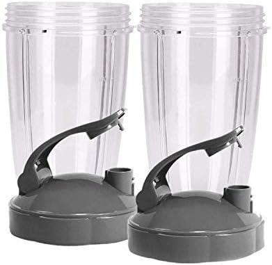 Huante 24Ounce Cups met Flip Top ToGo Deksel Pak van 2 Nutri Vervangende Onderdelen Accessoires Past op Nutri 600w en Pro 900w Blender