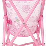 Nsdsb Carrito De Cochecito De Muñeca para Bebé Plegable con Muñeca para Muñeca De 12 Pulgadas Rosa