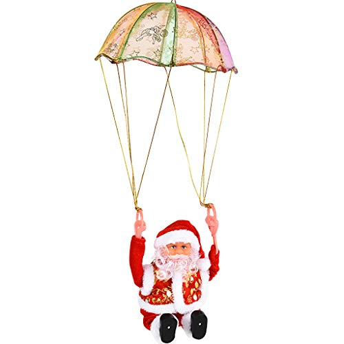 Pstarts Christmas Santa Claus Parachute Toy Gift for Kids, Electric Singing and Dancing Xmas Tree Hanging Ornament Indoor Outdoor Party Decoration