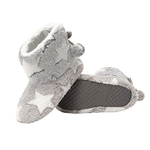 Jessica Simpson girls Bootie - Fuzzy Comfy Plush Memory Foam Star Booties Anti-slip House Shoe Slipper, Grey, Small Little Kid US