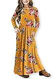 QUEEN PLUS Flower Dress for Girls Long Sleeve Pockets Empire Waist Maxi Dresses