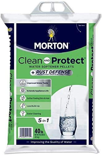 Morton Salt Morton F124700000g Clean & Protect/Rust Defense Water Softener Pellets, 40 Lb, Plain (4, Plain (40lb))