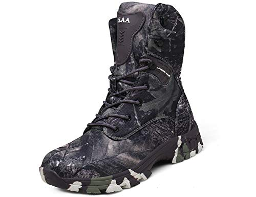 IYVW 5.AA Q3 Botas Militares para Hombres Botas de Desierto Informales Zapatos de Senderismo Botas tácticas ultraligeras con Cordone Botas de Combate al Aire Libre Camuflaje Gris 45 EU