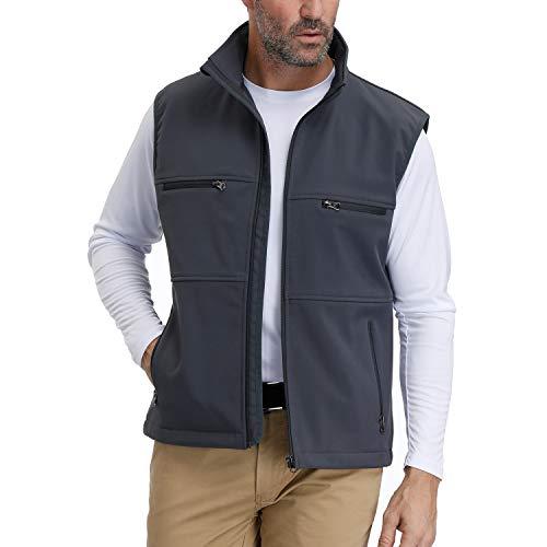 MOHEEN Men's Casual Coat Fleece Lined Sleeveless Jacket Full Zipper Softshell Vest XL Grey