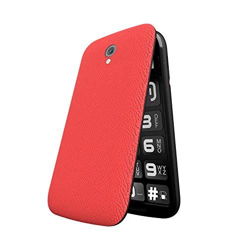 Nous Teléfono móvil plegable Helper Flip, para personas mayores, sin contrato, teclas grandes, función de llamada de emergencia, doble SIM, pantalla de 2,4 pulgadas, para personas mayores, color rojo