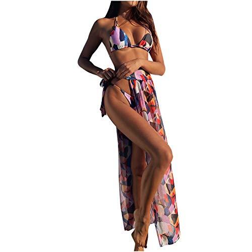 Moda para Mujer Sexy Bikini de Color sólido Dividido Traje de baño de Tres Piezas Que Incluye un Conjunto de Bikini sólido con Almohadilla para el Pecho(Multicolor-5,S)