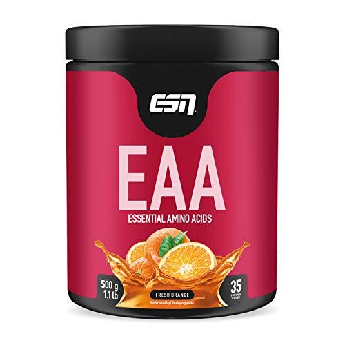 ESN EAA Pulver – 500g – Fresh Orange – Enthält alle 8 essentiellen Aminosäuren ( EAAs – essential amino acids ) – vegan – instant – 10.000 mg EAAs pro Shake – 35 Portionen – Made in Germany