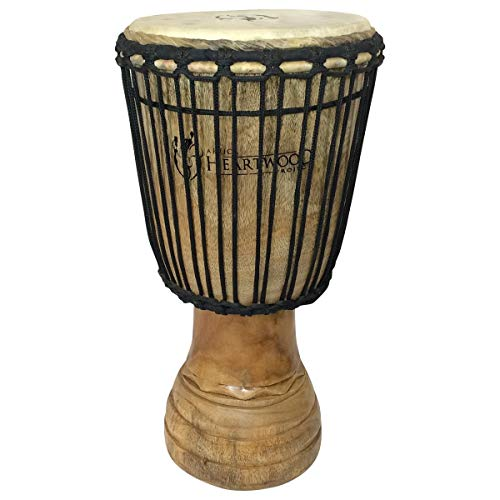 Hand-carved Classical Heartwood Djembe Drum from Africa - 10 x20