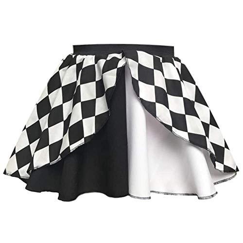 Rock für Damen, Harlekin / Jester / Hofnarr / Clown / Joker, ideal für Halloween-Kostüm Gr. 42, Jester Rock Black & White