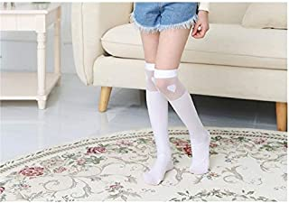 Lovely Socks Children Velvet Mesh Socks Kids Summer Heart Patterns Lace Mid Tube Socks(White) Newborn Sock (Color : White)