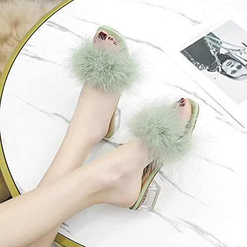 Zapatillas De Casa para Mujer Baratas,Sandalias Y Zapatillas De Peluche De TacóN De TacóN Rico Femenino, Chanclas Verano 2021, Tacones Gruesos con Faldas Y Sandalias De Playa-