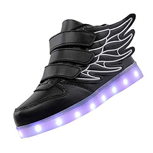 Kids'LED Mode Schuhe Light up Turnschuh-Trainer mit Flügeln 7 Farben Blinklicht für Jungen-Mädchen-Geschenk-Hoch-Spitze Turnschuhe USB-Gebühr,Schwarz,30
