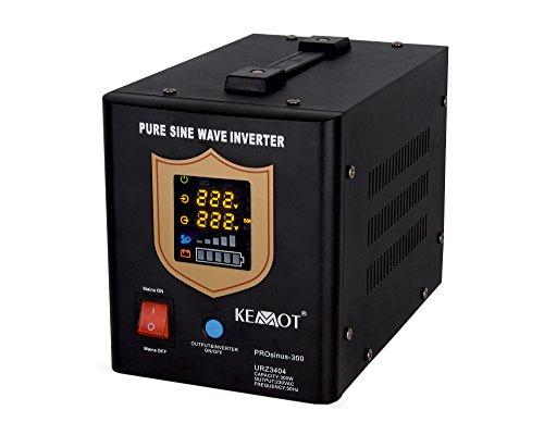 KEMOT urz3404b, Alimentation d'urgence Convertisseur Pur Sinus Fonction de Charge, 12V, 230V, 500VA/300W Noir