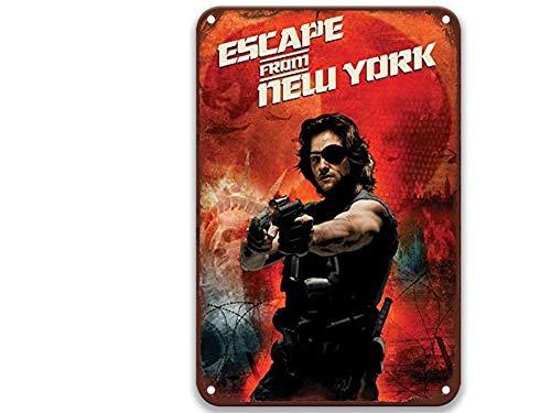 NNHG Plaque en métal « Escape from New York 2 » - Style vintage - Chic - Décoration murale pour toilettes, fête, salon, maison - 20,3 x 30,5 cm