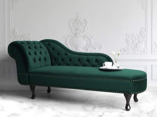 Beliani Retro Récamiere im Chesterfield Style Samtstoff linksseitig grün Nimes