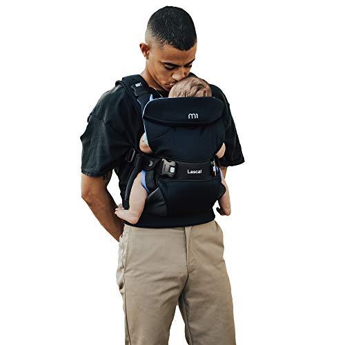 Lascal M1 Carrier Mochila portabebés ergonómica para moverse fácilmente, mochila para niños y recién nacidos (3,5 kg – 15 kg), con asiento infantil M-Seat, negro/azul