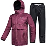 ILM Motorcycle Rain Suit Waterproof Wear Resistant 6 Pockets 2 Piece Set with Jacket and Pants Fits Men Women (Women's Large, Wine Red)