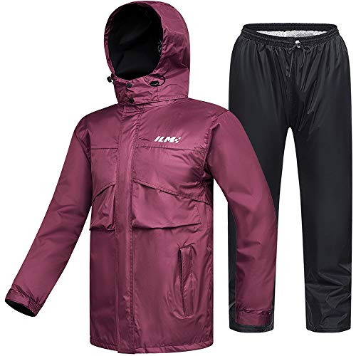 ILM Motorcycle Rain Suit Waterproof Wear Resistant 6 Pockets 2 Piece Set with Jacket and Pants Fits Women (Women's Large, Wine Red)