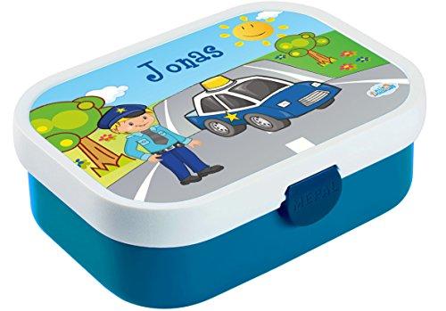Mein Zwergenland Brotdose Mepal Campus inkl. Bento Box und Gabel mit eigenem Namen Blau, Polizei