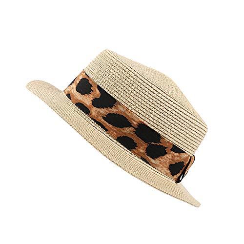 Viaje de Ocio de Primavera y Verano Ocio Tejido Sombrero de Paja para Mujer Sombrilla de Sol de Sol con Sombrero de Sol Impreso con Sombrero de Brezo Corto