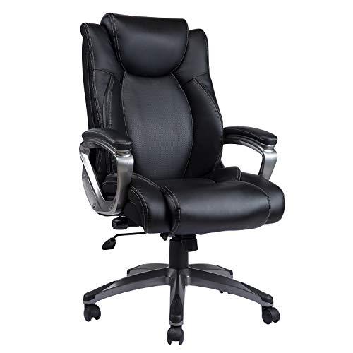 VANBOW Bürostuhl Chefsessel Drehstuhl - Verstellbare Wirbelsäulenabstützung & Kippwinkel, höhe Rücklehne Computerstuhl