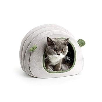 ZhiTianGroup Chat Maison Hamster Cotton Nest Puppy Pet Bed Pet Supplies Nest fermé Cat Four Seasons Universal Amovible Matelas (Color : Grey, Size : M)