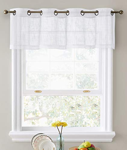 HLC.ME Abbey Faux Linen Textured Semi Sheer Privacy Light Filtering Transparent Thick Half Short Grommet Curtain Valance Topper for Small Windows, Kitchen & Bathroom (54 W x 18 L, White)