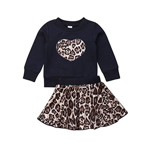 Carolilly - Juego completo de 2 piezas de sudadera con capucha y estampado de leopardo + falda de leopardo Negro 1-2 Años