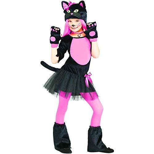 Forever Young Mädchen-Kostüm, niedliches Katzen-Kostüm, Halloween-Kostüm, schickes Outfit Gr. 7-8 Jahre, rosa / schwarz