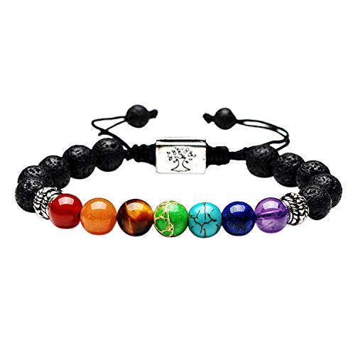 Black Lava Beaded Bracelet 7 Chakras Gem Stone with Braided Rope Unisex 8mm