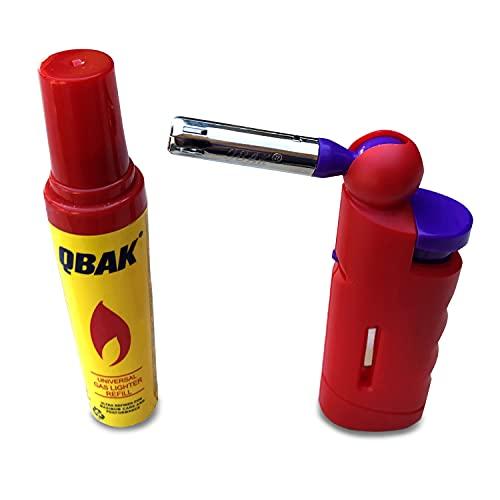Encendedor Cocina y Barbacoa a Gas pequeño con Cabeza de Quemador Orientable, Llama de Tamaño Regulable y Bloqueo de Seguridad con Bombona de Gas para Recarga