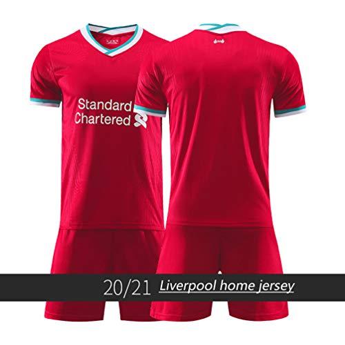 LASERIPLF Liverpool M.Salah Fußball Trikot Shorts Top Weste Kit Set Jungen Mädchen Kinder FABINHO Sommer Fußball Uniform, 2020/21 Jungenhemd Für Erwachsene Männer Frauen-blank-XL