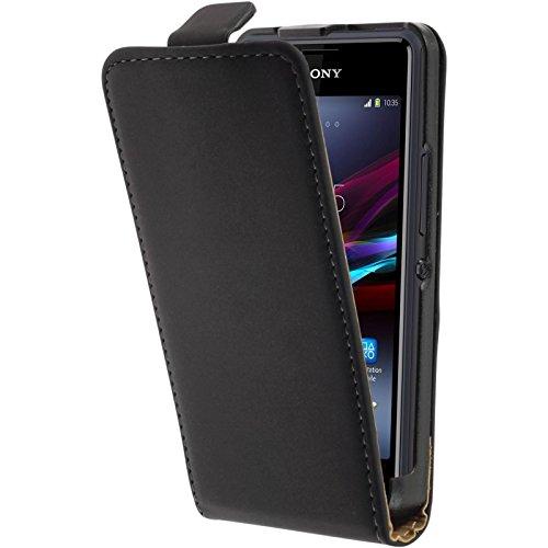 PhoneNatic Kunst-Lederhülle kompatibel mit Sony Xperia E1 - Flip-Hülle schwarz + 2 Schutzfolien