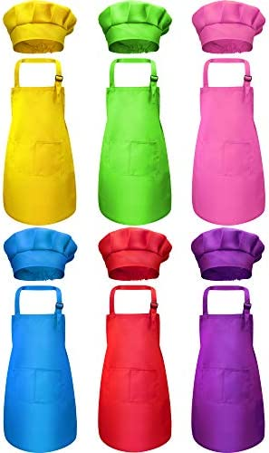6 Pieces Kids Aprons and 6 Pieces Chef Hats Adjustable Child Aprons with Pockets Kitchen Bib product image