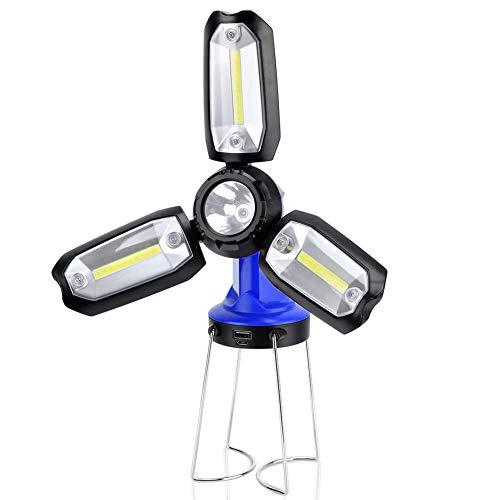 SMAMS Linterna Lámpara Farol de Camping LED Recargable, con 8 Modos, Impermeable, Banco de energía, Máximo 400lm, Plegable Portátil COB, para Actividades al Aire Libre, Emergencia, Camping (Azul)