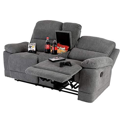 Raburg 2er XXL Kinosessel Flix in Grafit-GRAU - Soft-Touch-Mikrofaser, Heimkino-Sessel, Easy-Lift-Funktion, Fernsehsessel mit Liege- & Relaxfunktion, Taschenfederkern, für 2 Personen