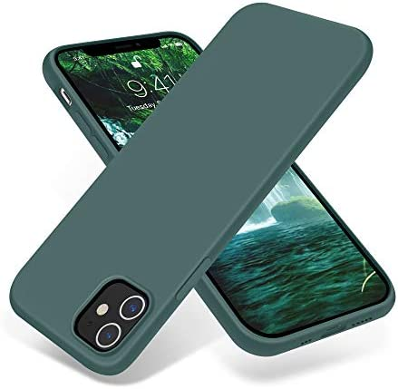 Top New OTOFLY Compatible with iPhone 12 Case and iPhone 12 Pro Case 6.1 inch(2020),[Silky and Soft Touch Series] Premium Soft Liquid Silicone Rubber Full-Body Protective Bumper Case (Pine Green)
