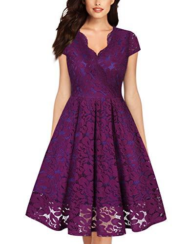 KOJOOIN Damen Spitzenkleid 1950er Cocktailkleid Vintage Brautjungfernkleider für Hochzeit Kurzes A-Linie Abendkleider Lila (Kurze Ärmel) S/34-36