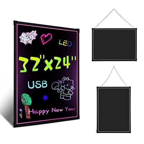 """Neon Writing Board LED, 32""""X24"""" LED Writing Board Flashing Illuminated Erasable Message Board Effect Menu Memo Notice Writing Sign Board with 48 Light Mode for Kitchen Wedding Restaurant Shopping Mall"""