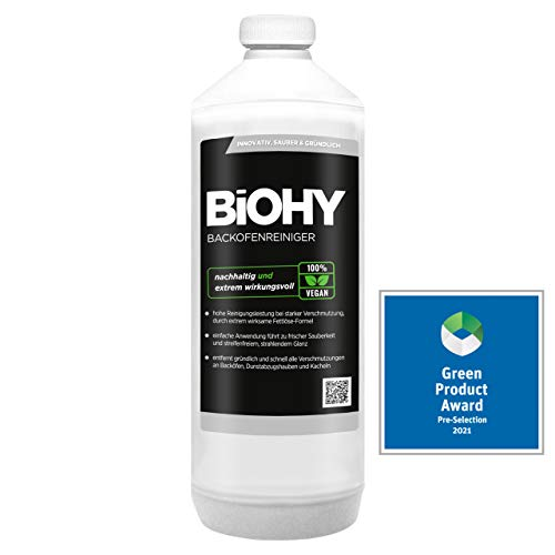 BiOHY Backofenreiniger Hochkonzentrat (1l Flasche) | Profi Grillreiniger, Fettlöser EXTRA STARK | Zur einfachen und schnellen Ofenreinigung | Löst hartnäckigste Verkrustungen