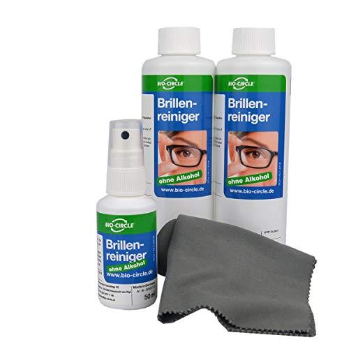 bio-chem Brillenreiniger mit ANTI-BESCHLAG-Funktion, Schutz vor beschlagenen Brillen, Anti-Fog-Spray, 50 ml Sprayflasche + 2x 250 ml Nachfüllflasche (550 ml) + Premium-Mikrofasertuch/Brillenputztuch