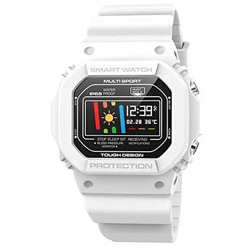 OOFAY Smart Watch, Intelligente Uhr, IP68 wasserdichte Intelligente Uhr Mit Puls-Blutdruck-EKG-Monitor Schlaf-Monitor-Support-Informationen Mitteilung,Weiß